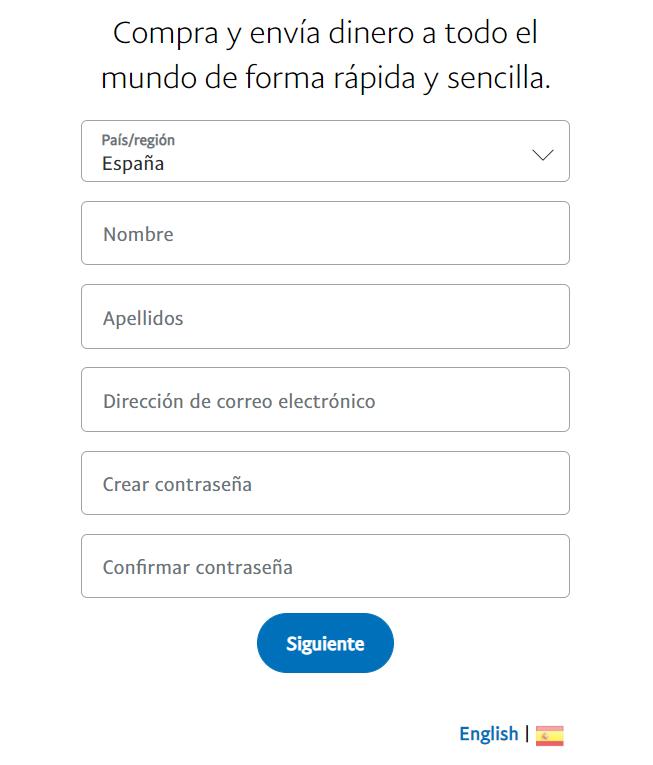registro cuenta personal paypal