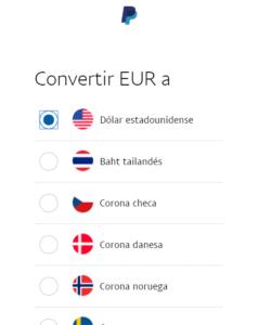 Convertir divisas en paypal